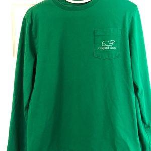 Vineyard Vines Unisex XL (18) Green Whale LS Tee